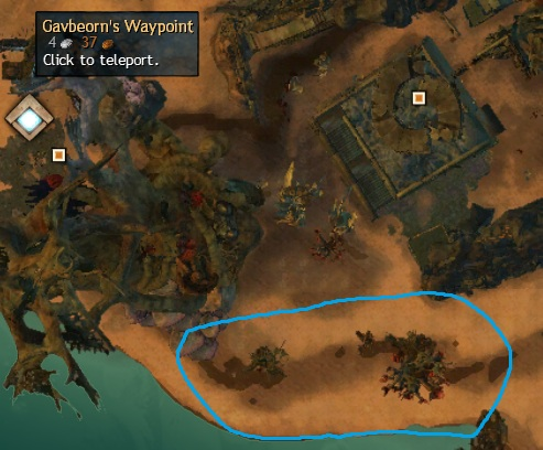 Cursed Shore - Orichalcum Spawn Location Southeast of Gavbeorn's Waypoint