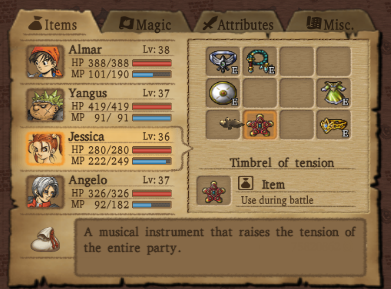 Timbrel of tension item