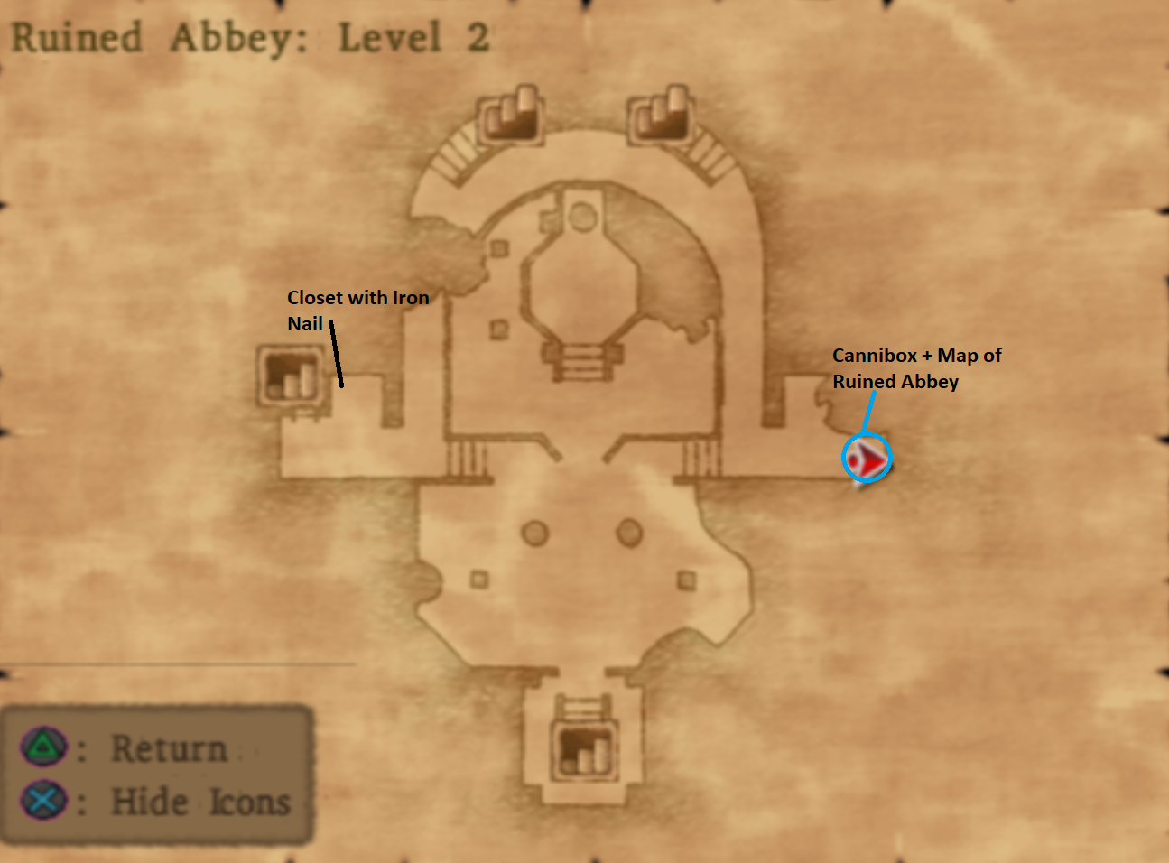 Map of Ruined Abbey Level 2
