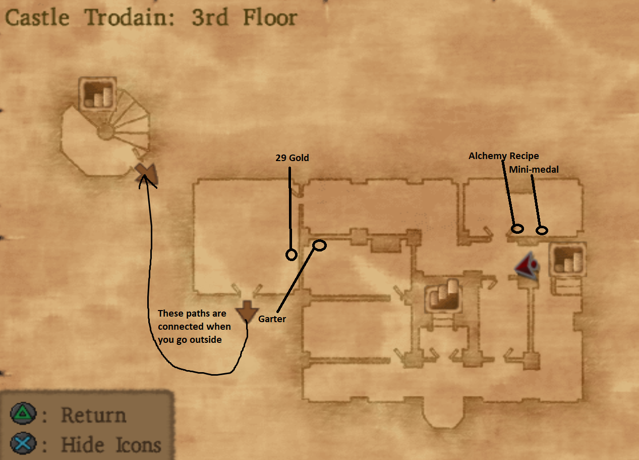 Map of Castle Trodain Floor 3
