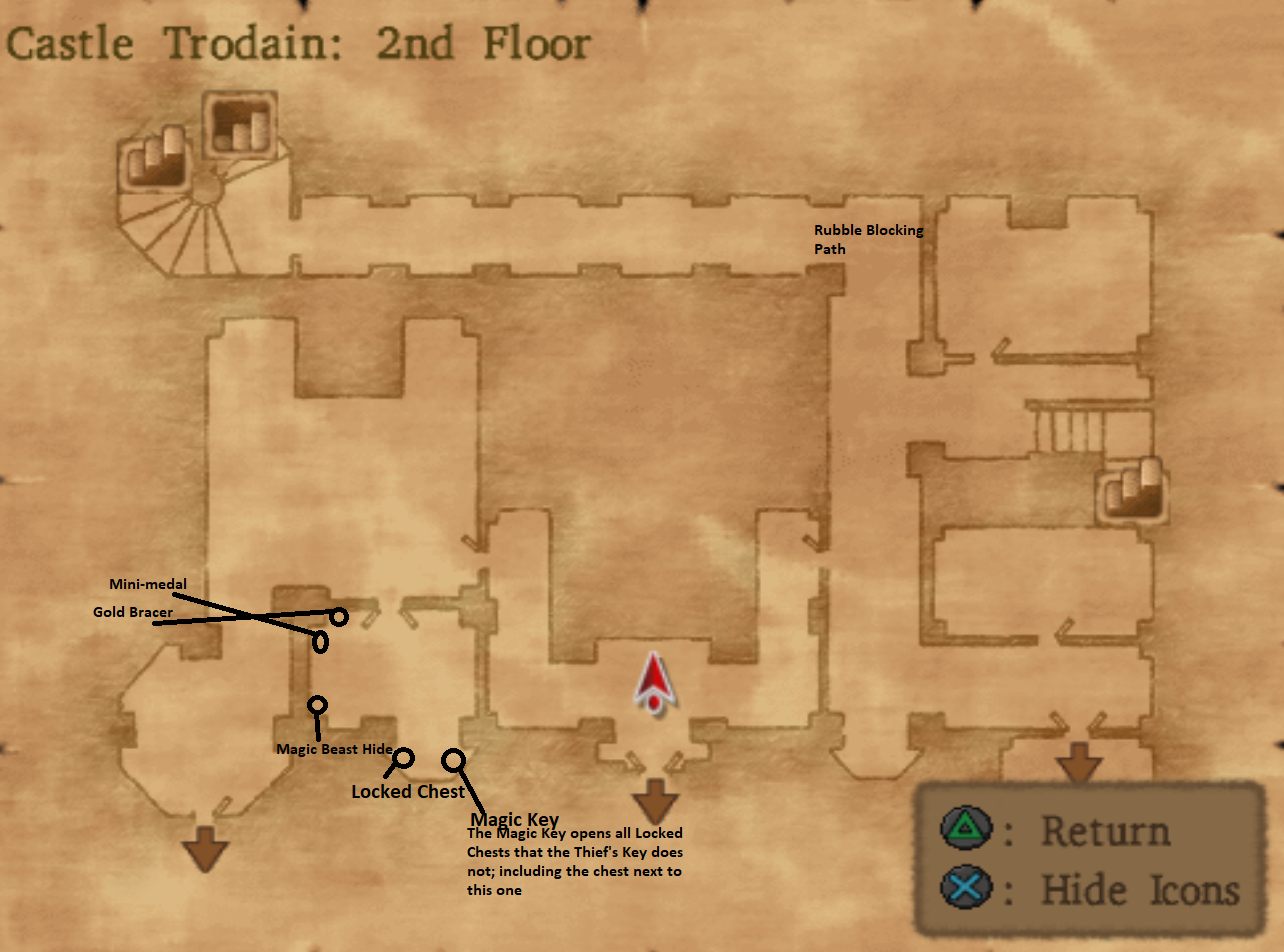 Map of Castle Trodain Floor 2