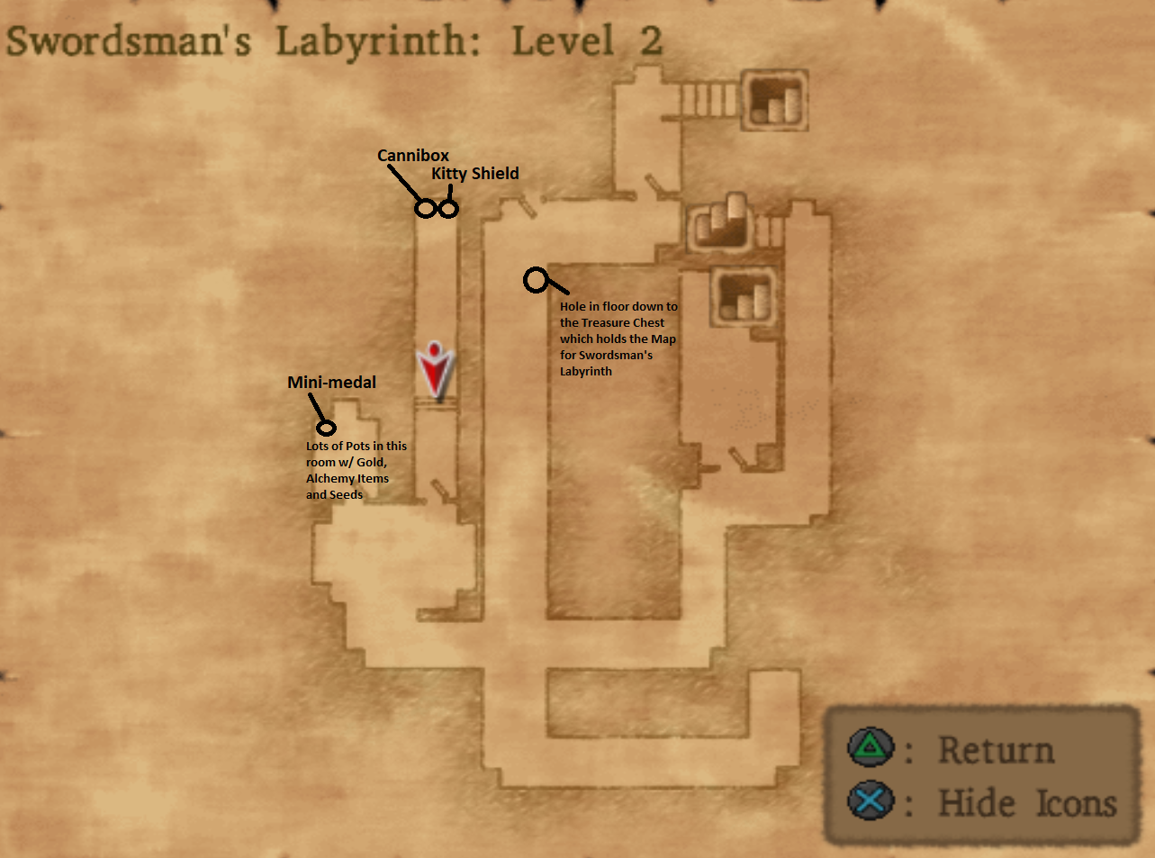 Map of Swordsmans Labyrinth Level 2
