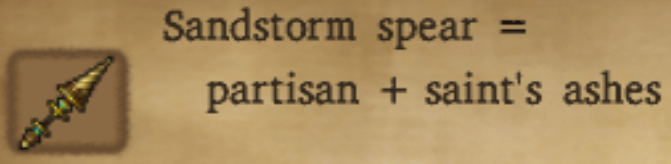 Sandstorm Spear Alchemy Recipe