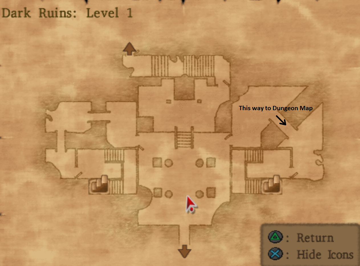 Map of Dark Ruins Level 1