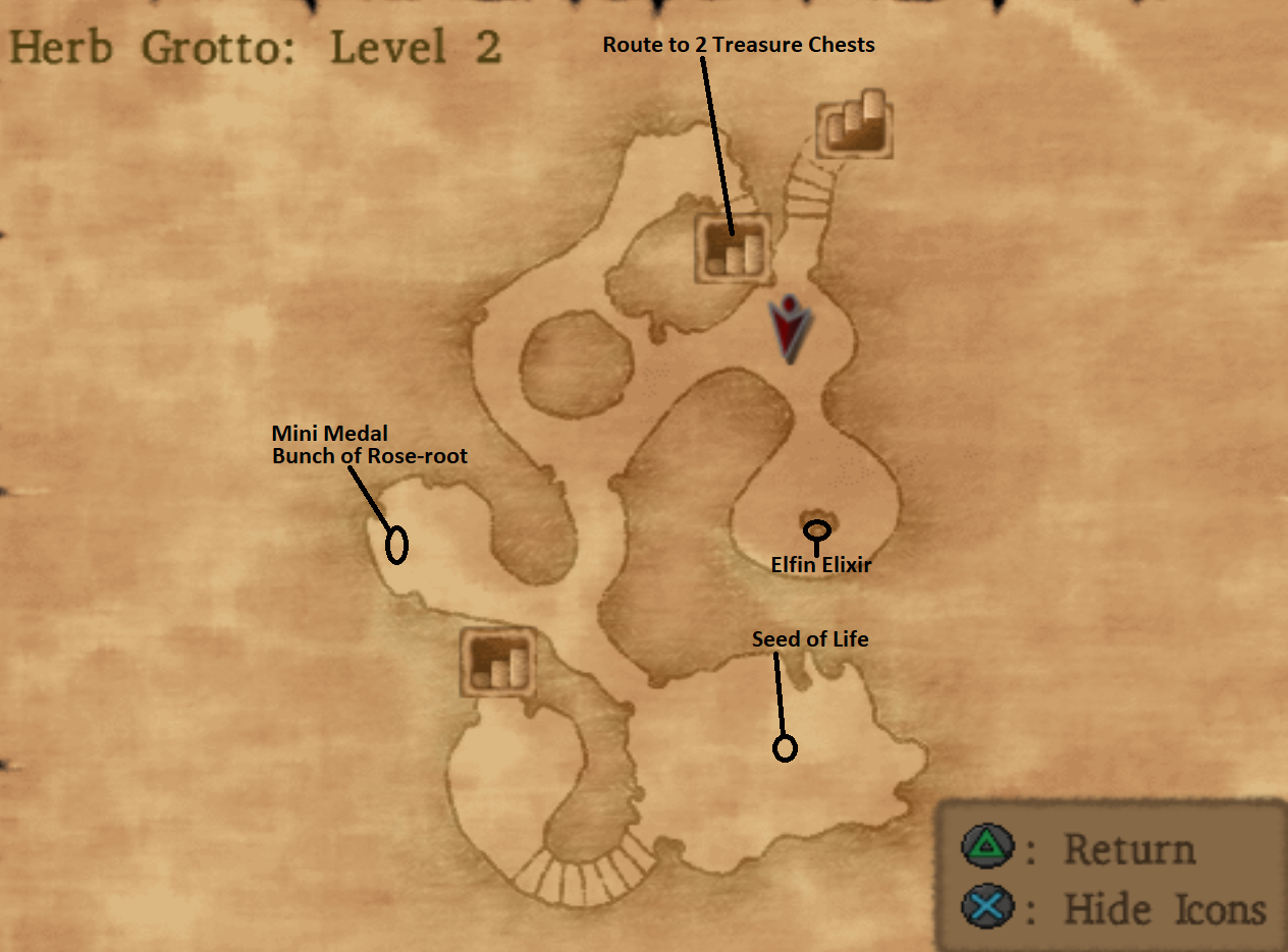 Map of Herb Grotto Dungeon Level 2