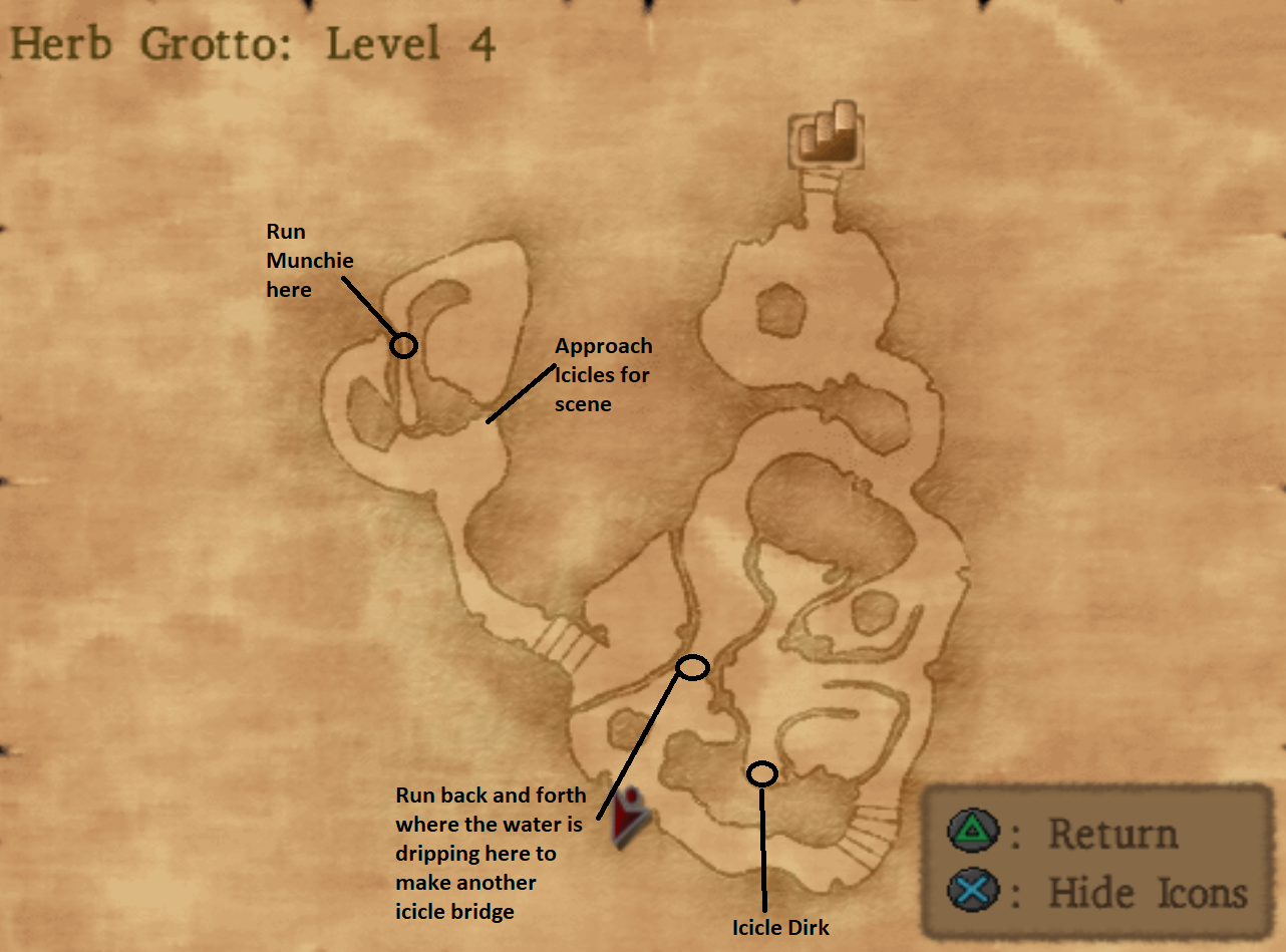 Map of Herb Grotto Dungeon Level 4