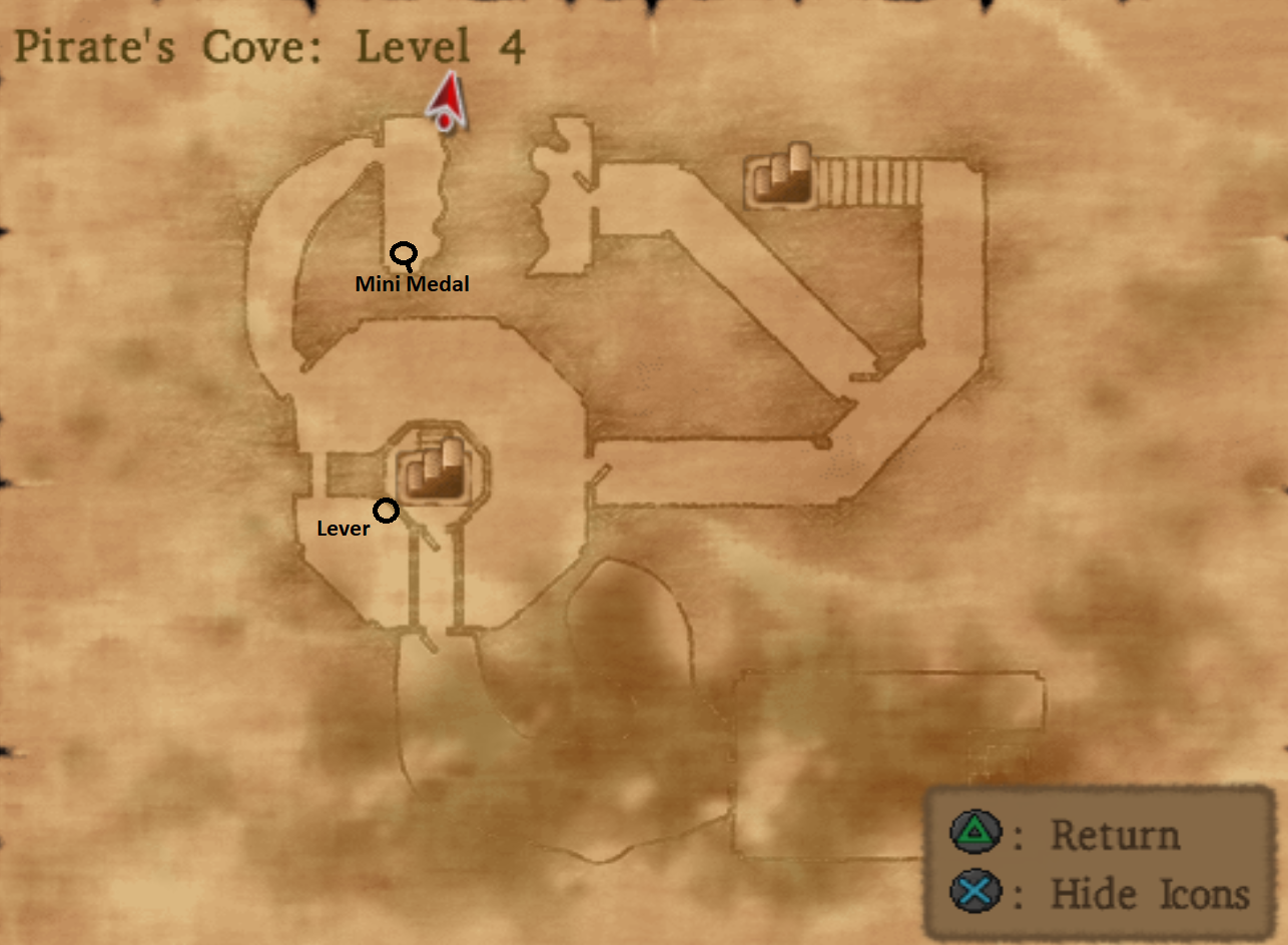 Map of Pirates Cove Level 4