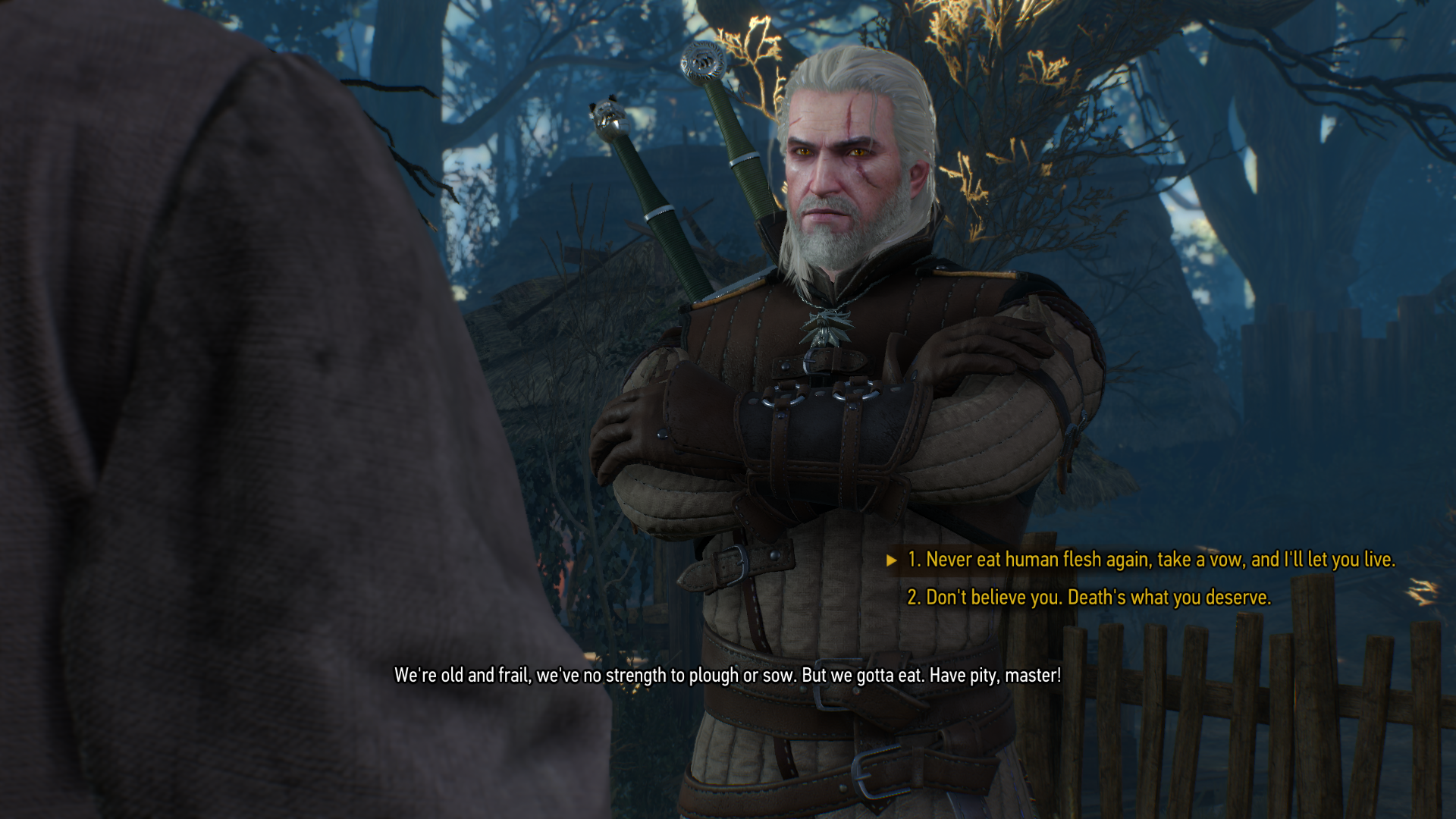 Geralt Confronting Old Couple