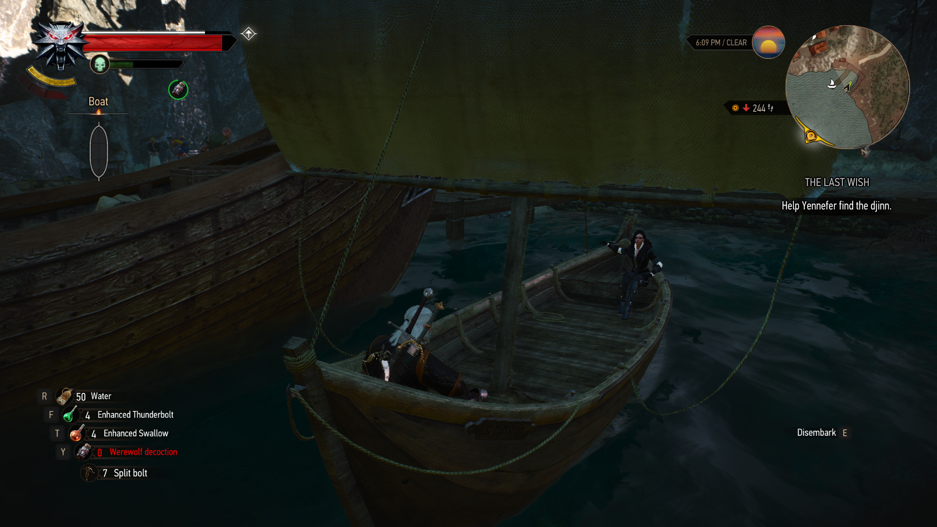 on boat with yennefer
