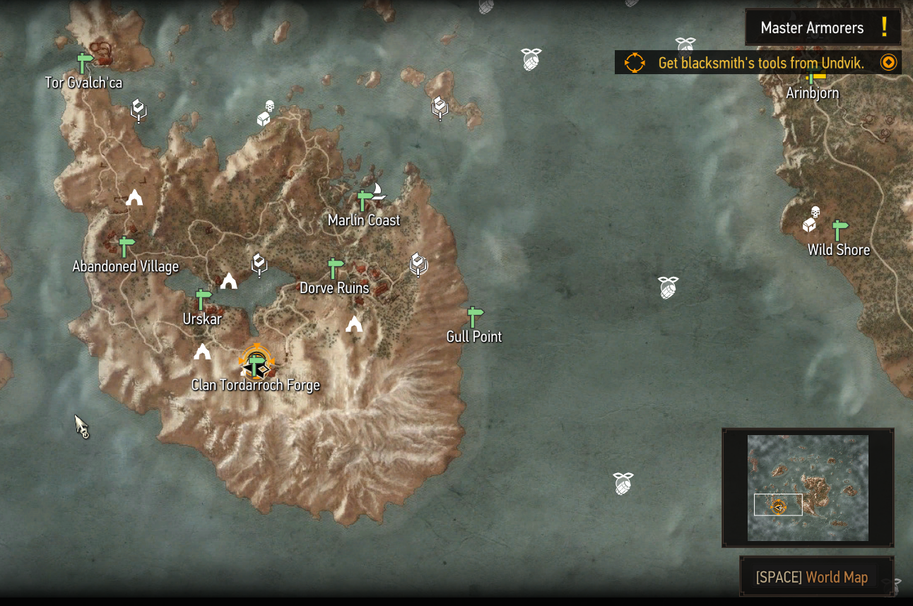 Master armorers Skellige map location
