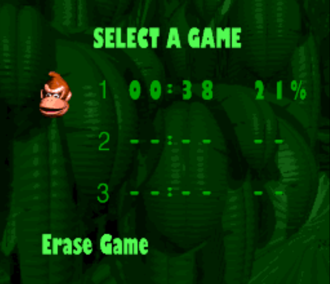 Donkey Kong Country Code Input Screen