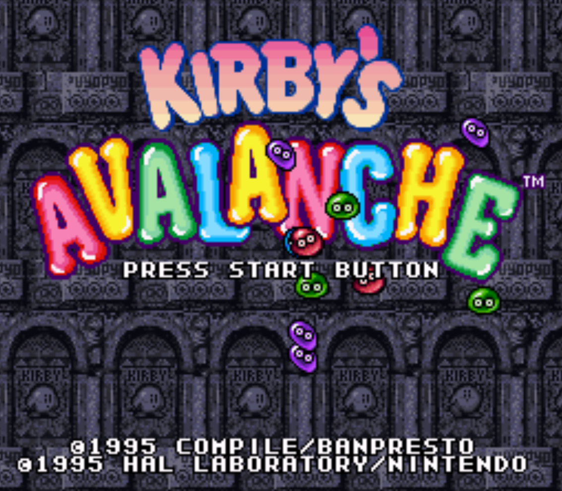 Kirbys Avalanche Title Screen