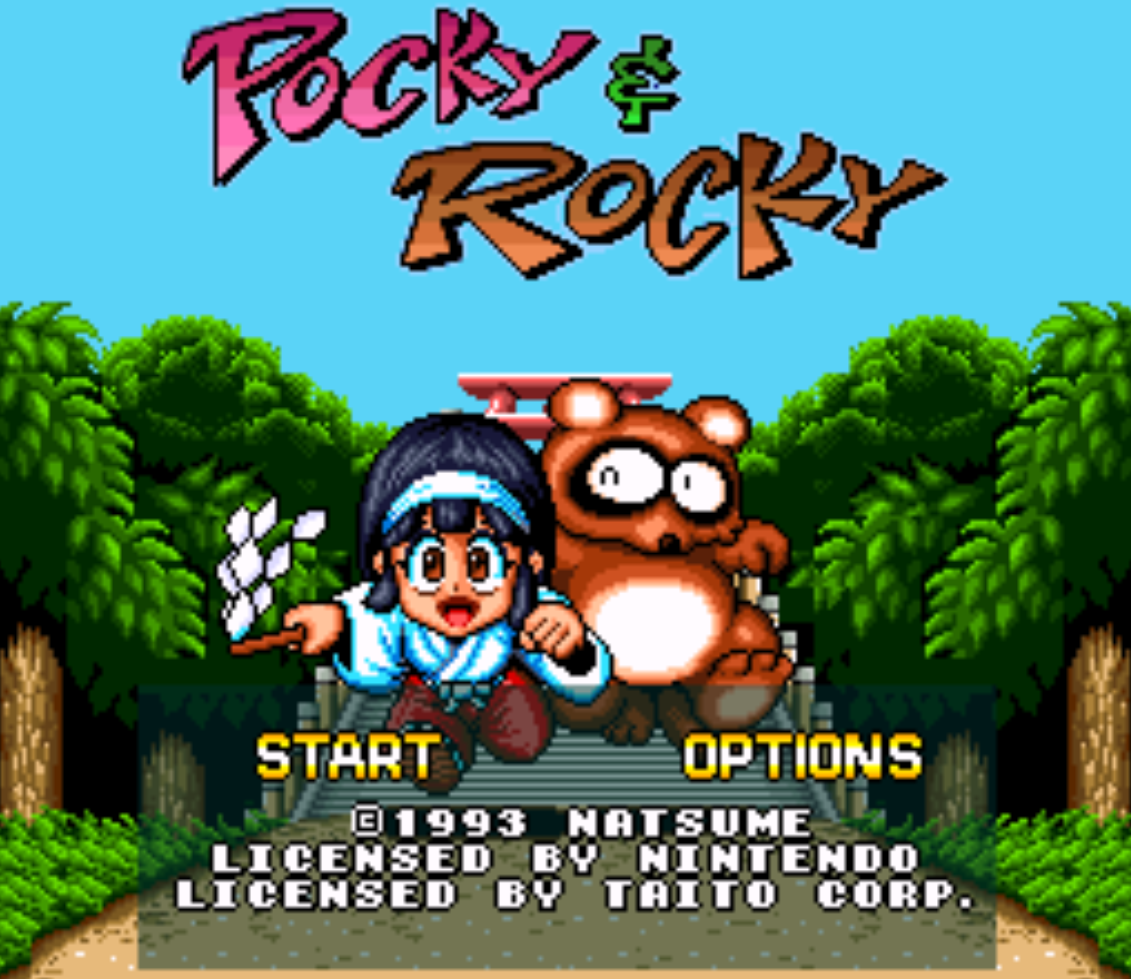 Pocky and Rocky Title Screen