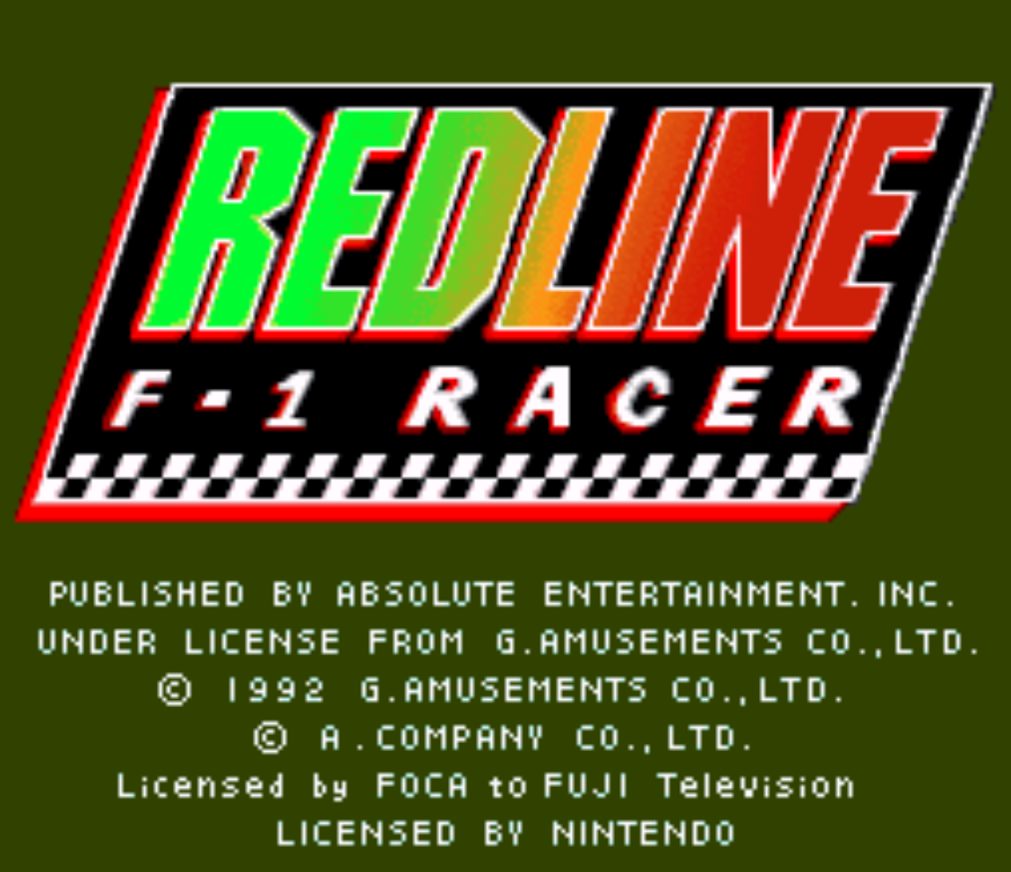 Redline F1 Racer Title Screen