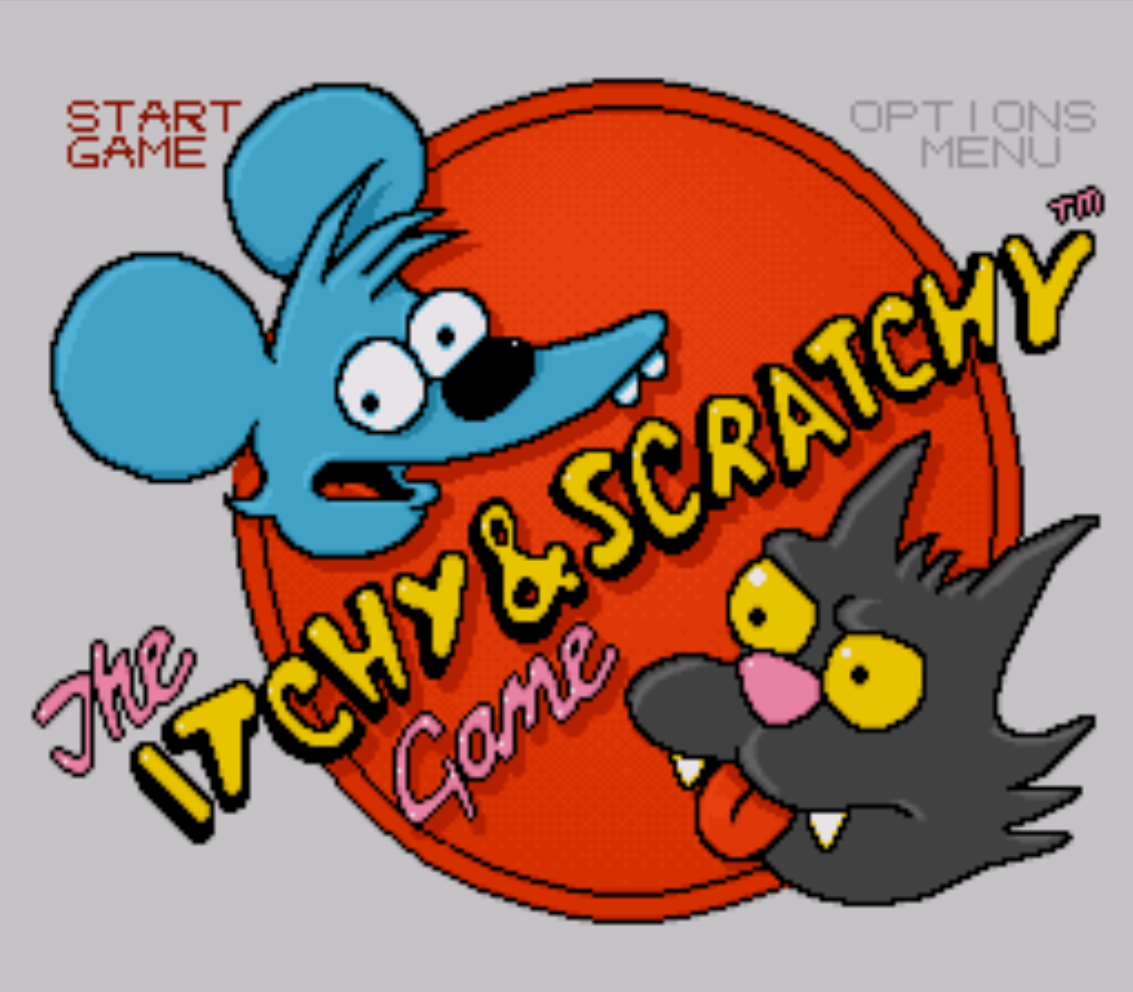 The Itchy and Scratchy Game Title Screen
