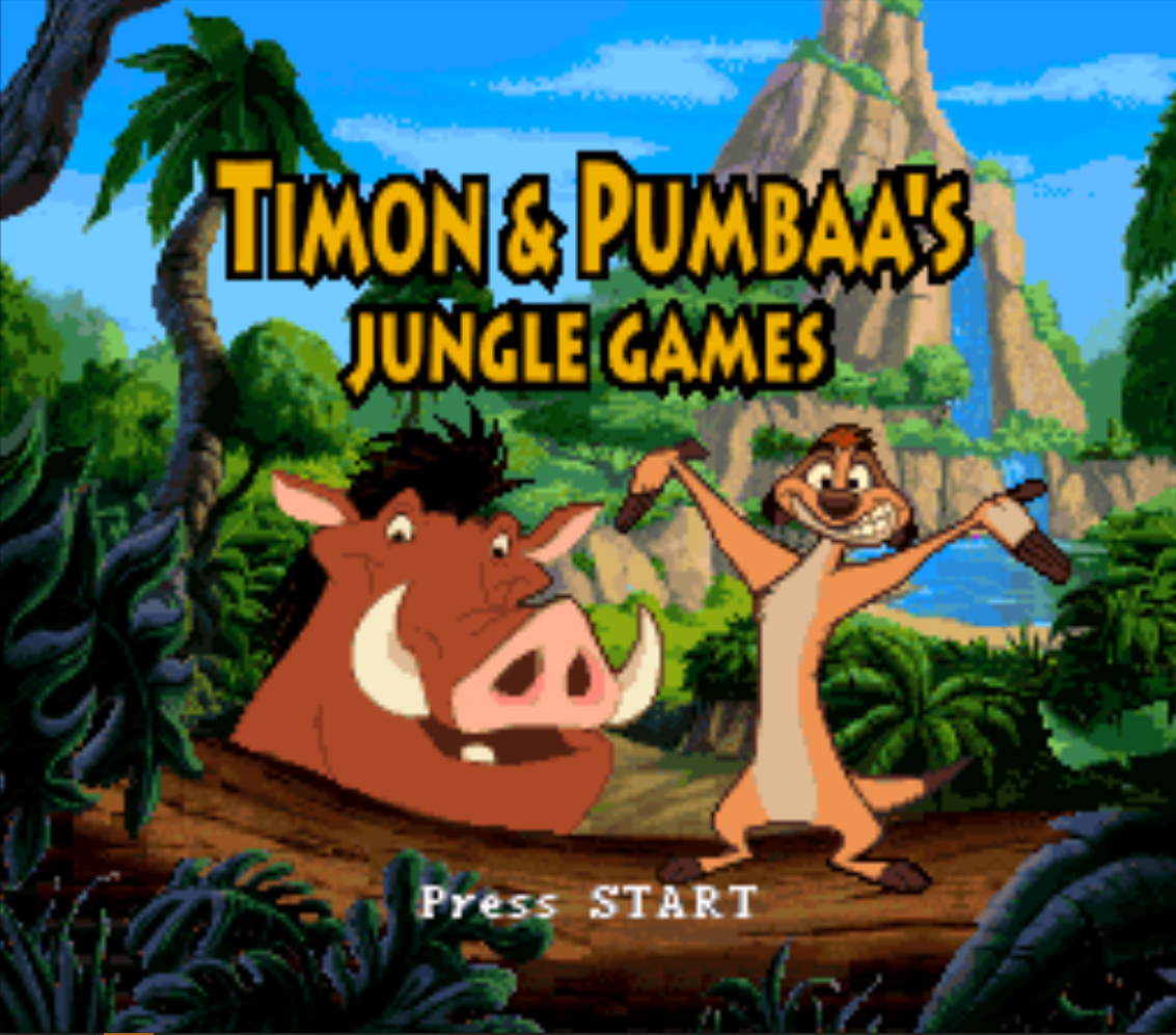 Timon and Pumbaas Jungle Games Title Screen