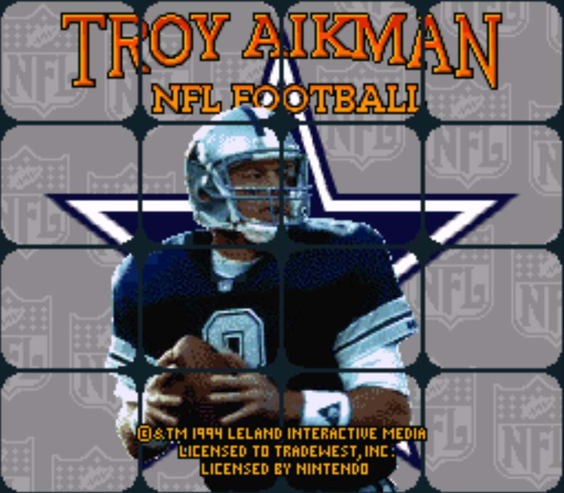 Troy Aikman NFL Football Title Screen