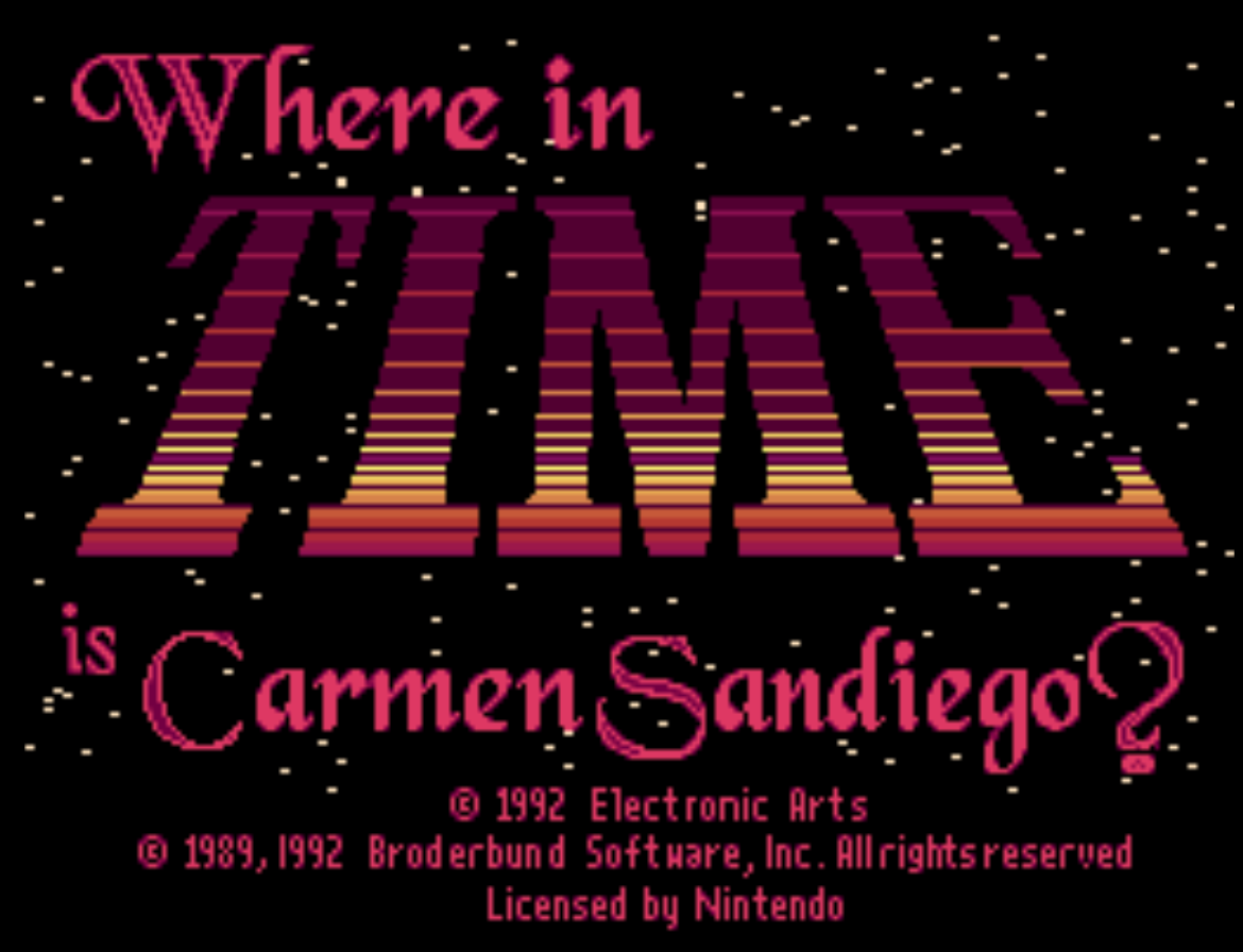 Where In time is Carmen Sandiego Title Screen